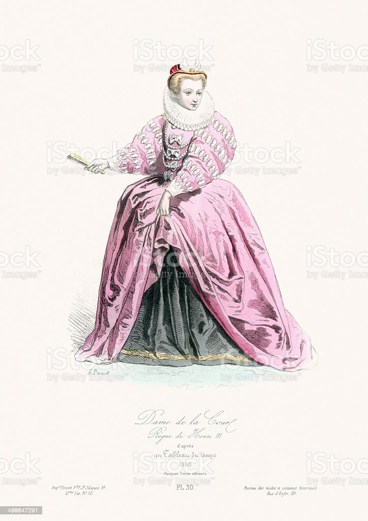Renaissance Fashion - Lady of the court vector art illustration