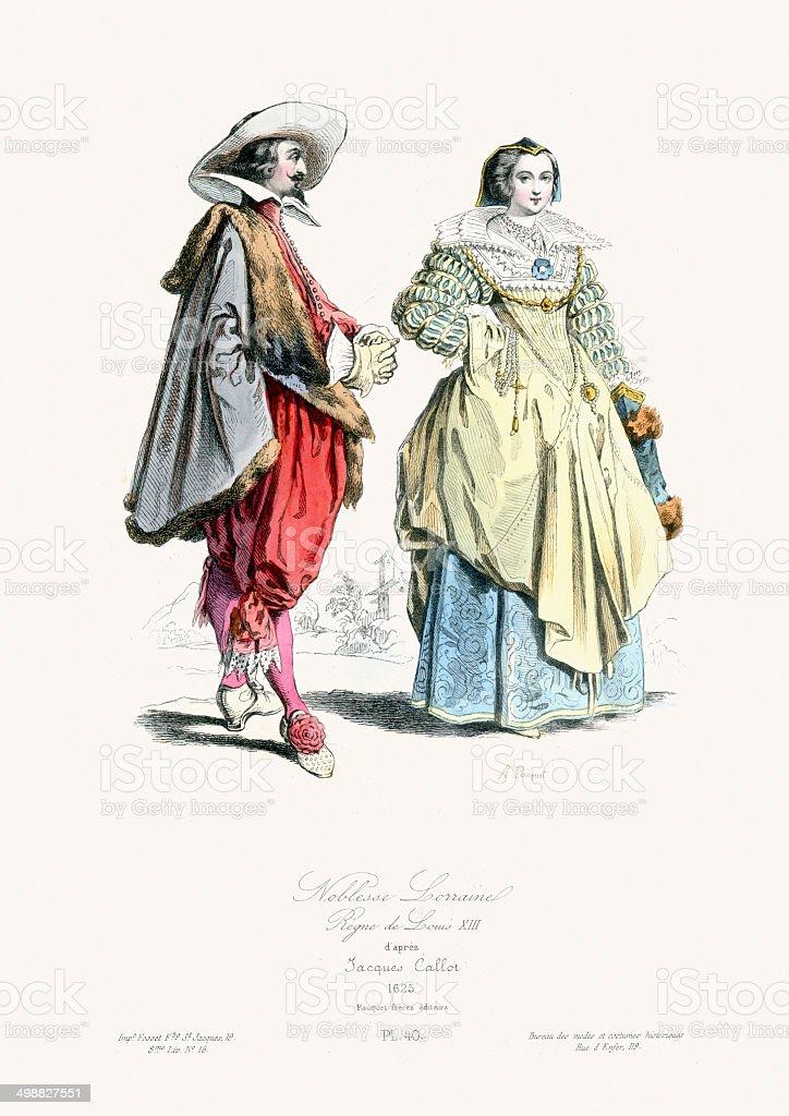 Renaissance Fashion - Nobles of Lorraine royalty-free stock vector art