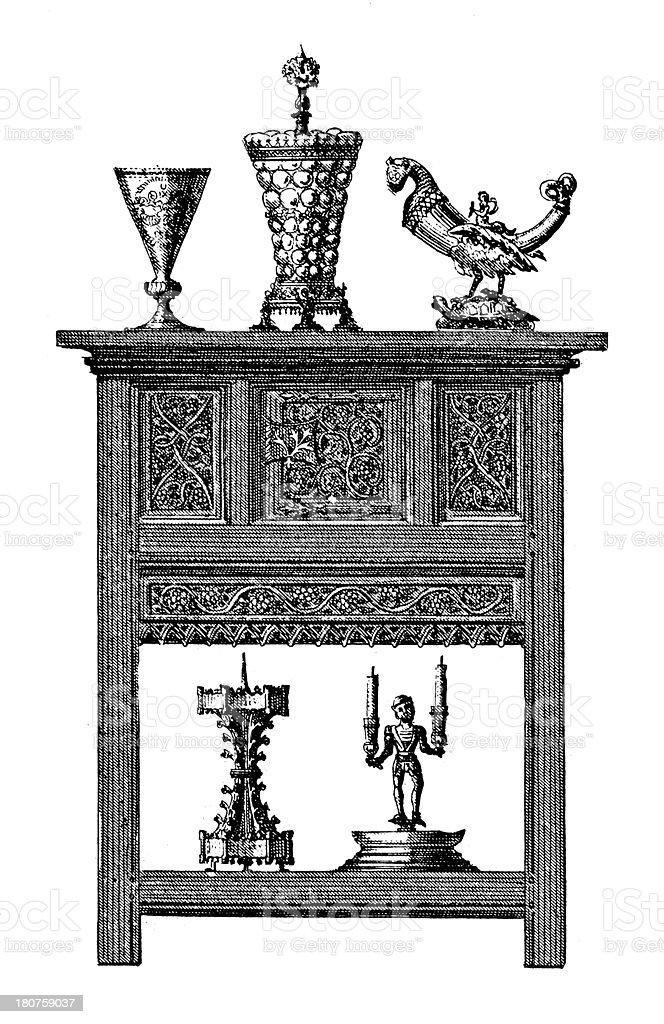 Renaissance furniture and artefacts (antique wood engraving) vector art illustration