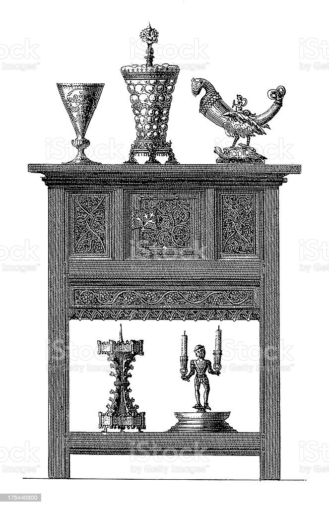 Renaissance Furniture | Antique Style and Design Illustrations vector art illustration