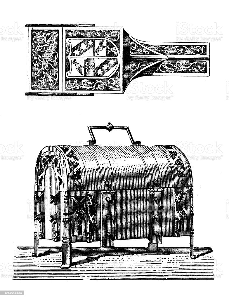 Renaissance furniture (antique wood engraving) royalty-free stock vector art