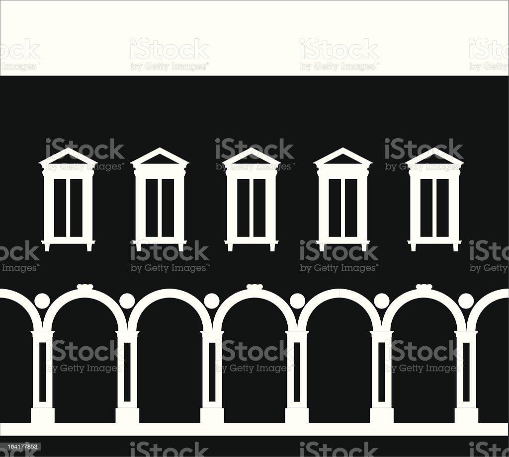 Renaissance palace in empty negative vector art illustration