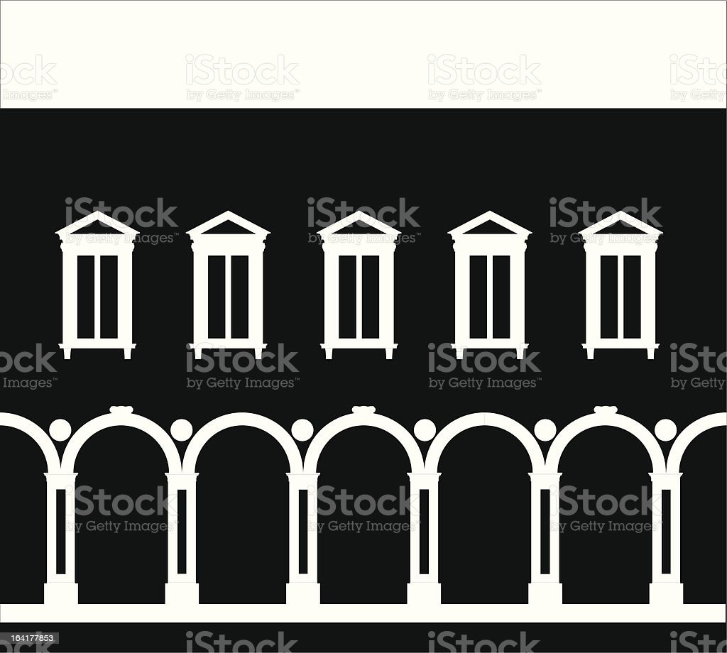 Renaissance palace in empty negative vector art illustration