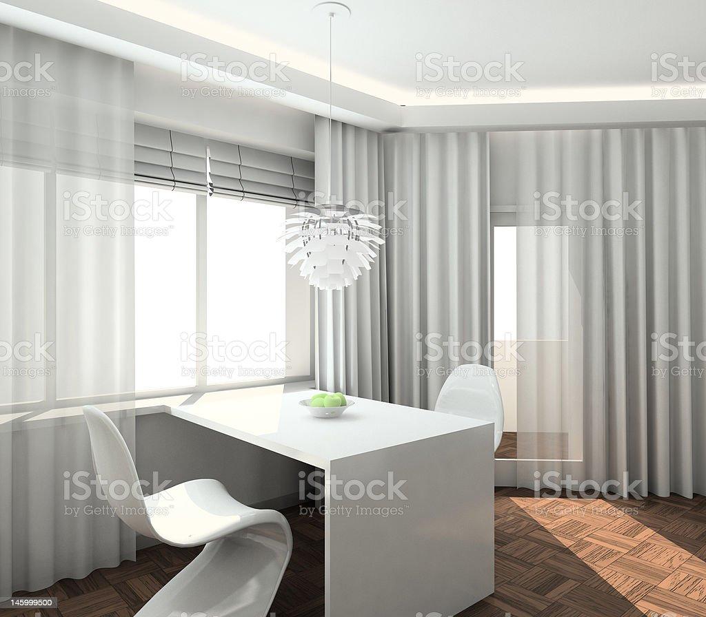 3D render modern interior of kitchen royalty-free stock vector art