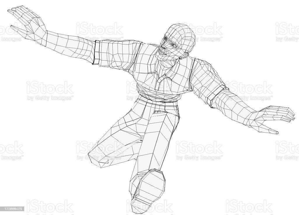 Render Of A Jumping Man vector art illustration