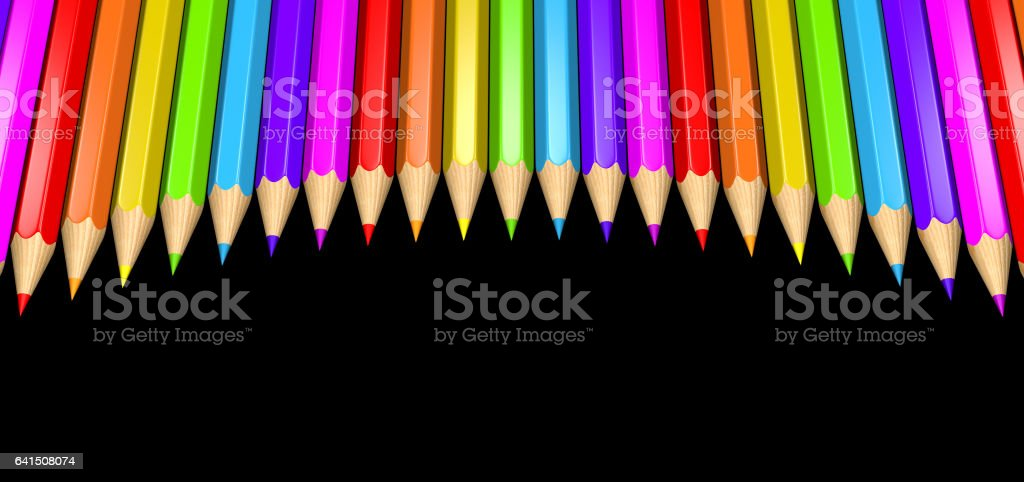 3D rendered illustration of a ring of rainbow colored pencils creating a circle shape isolated over black background. vector art illustration