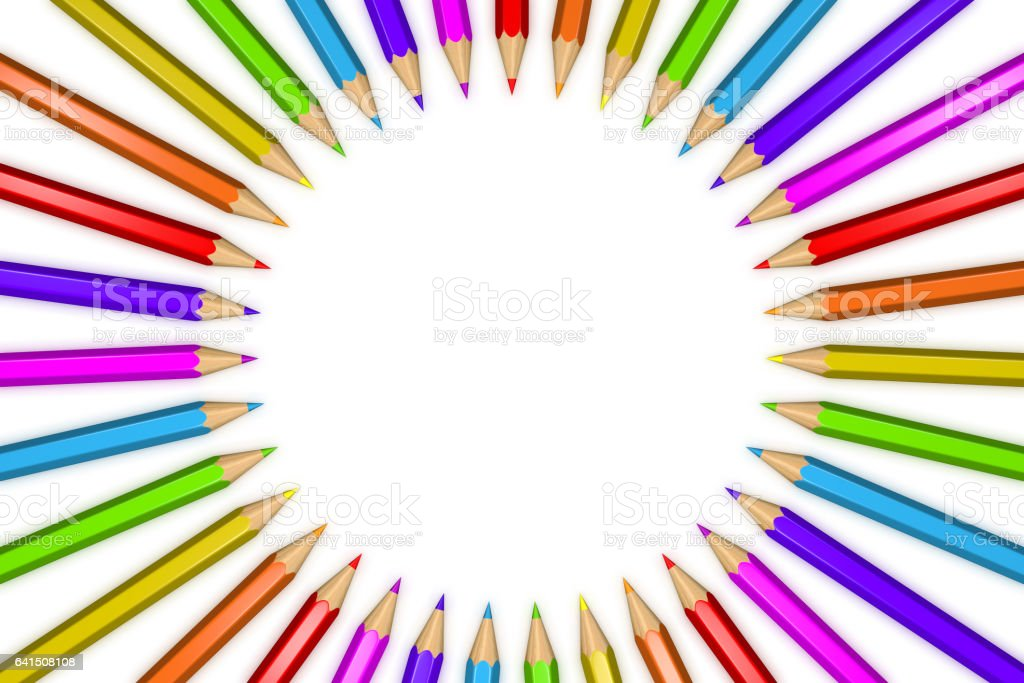 3D rendered illustration of a ring of rainbow colored pencils creating a circle shape isolated over white background. vector art illustration