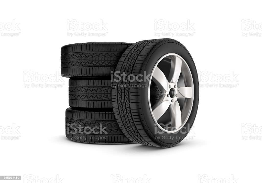 Rendering black wheels with one in profile isolated on white vector art illustration
