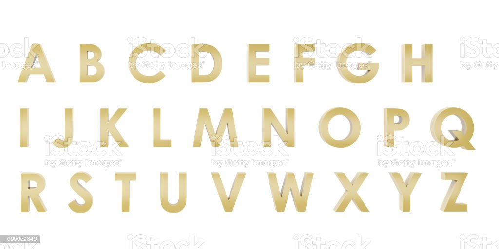 3D Rendering Gold English alphabet a to z isolated on white background, clipping path inside stock photo