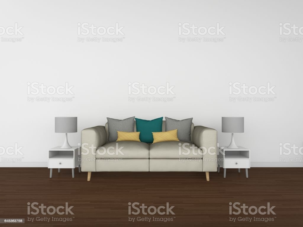 3d rendering living room isolated on white background interior