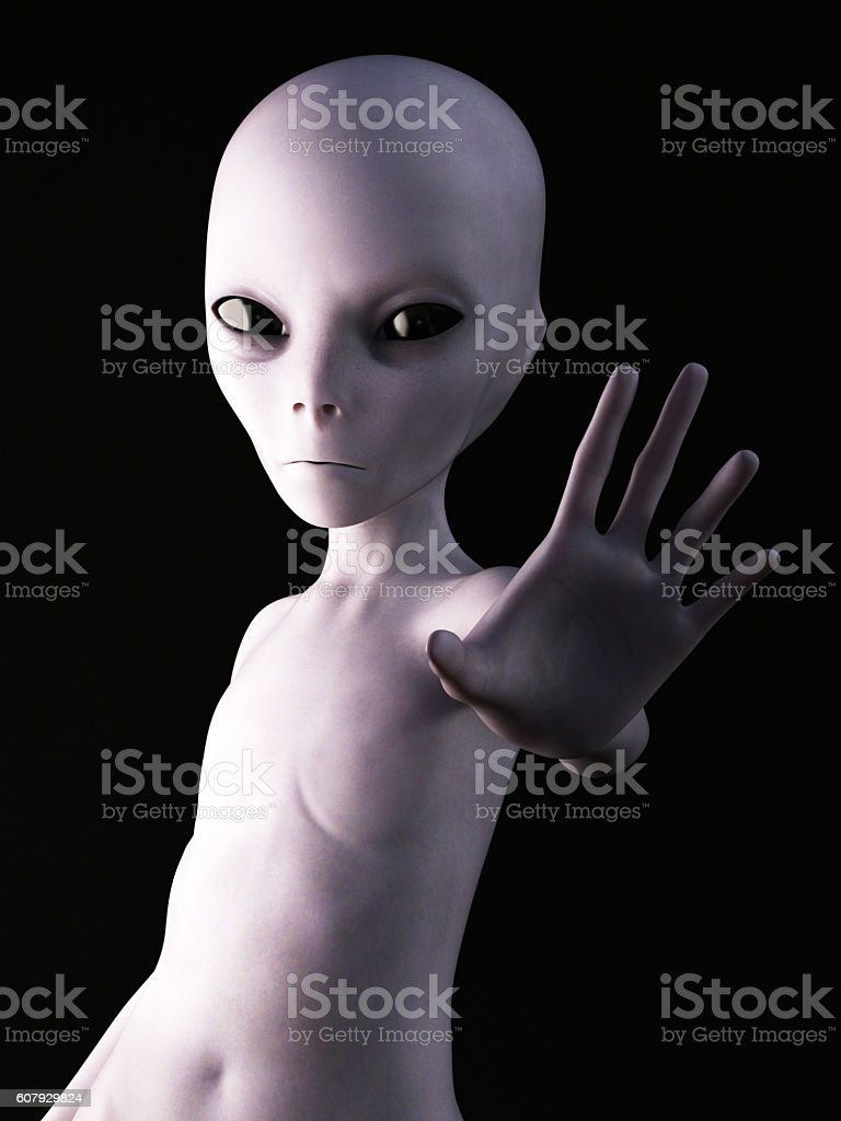 3D rendering of an alien. vector art illustration