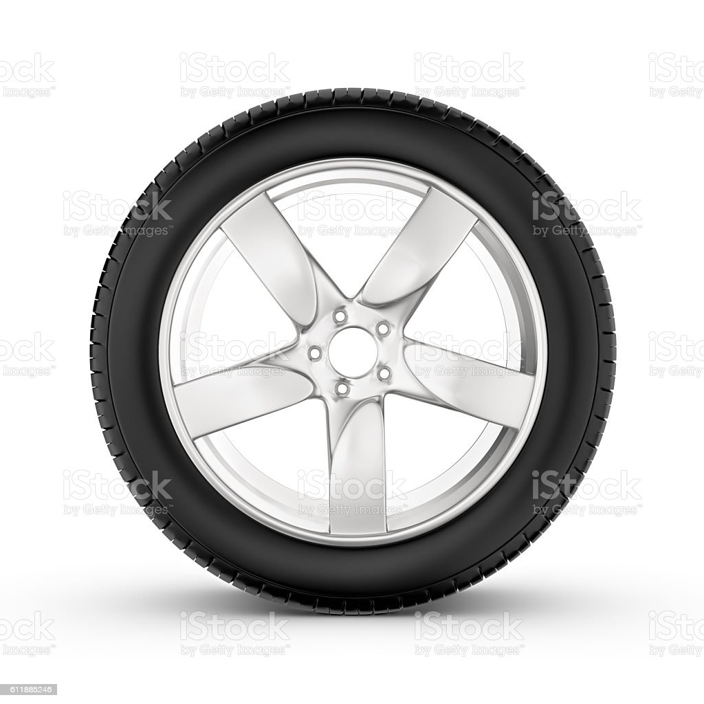 Rendering of wheel with one in profile isolated on white vector art illustration