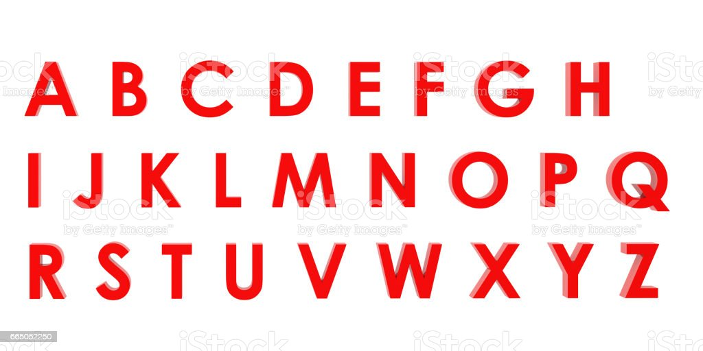 3D Rendering Red English alphabet a to z isolated on white background, clipping path inside stock photo