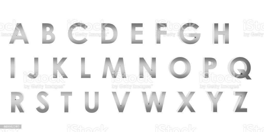 3D Rendering Stainless English alphabet a to z isolated on white background, clipping path inside stock photo