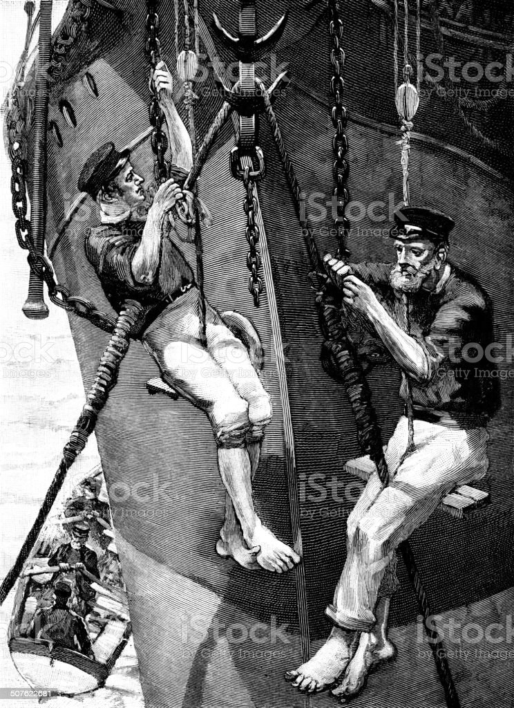 Repairing the cable on a Victorian cable-laying ship vector art illustration
