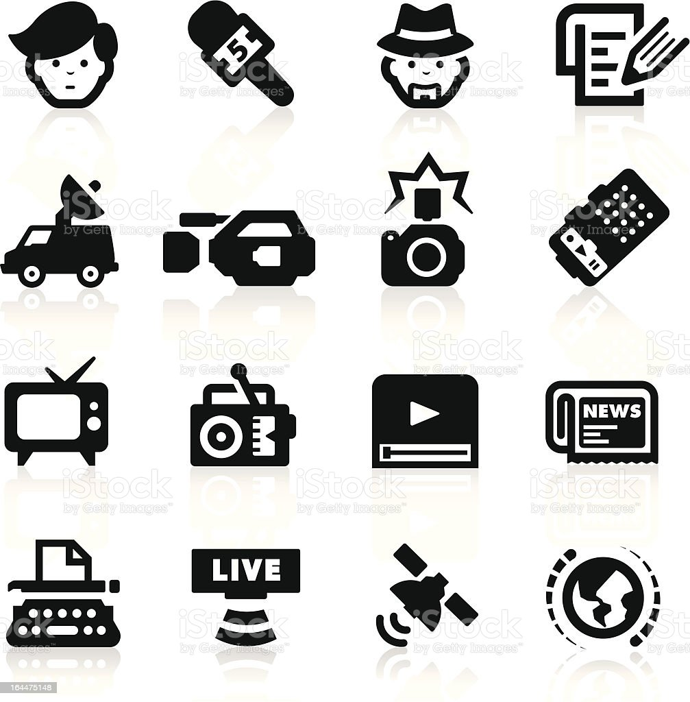 Reporter icons set – elegant series vector art illustration