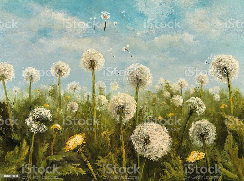 Reproduction of dandelions royalty-free stock vector art