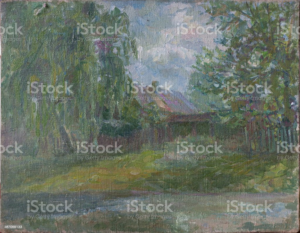 Reproduction of painting stock photo