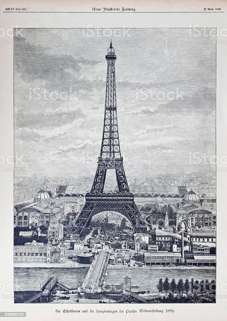 Reprography of a vintage engraved illustration from Eiffel Tower 1889 vector art illustration