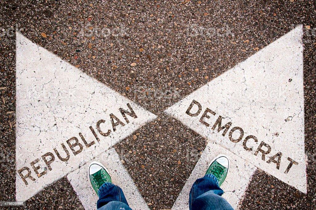 Republican and Democrat sign vector art illustration