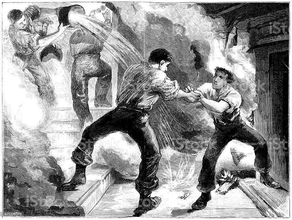 Rescue from a fire - Victorian illustration vector art illustration