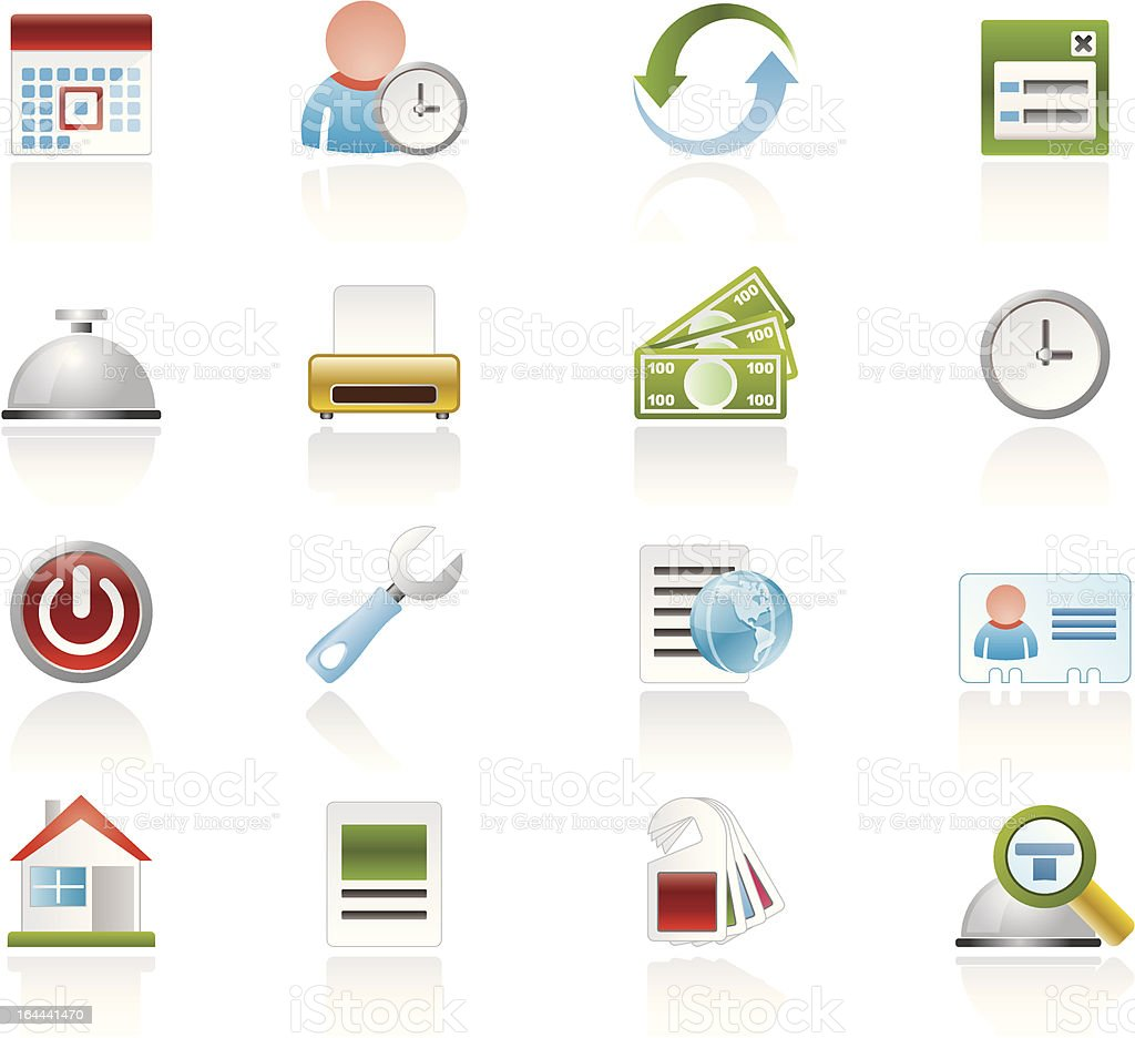 reservation and hotel icons vector art illustration