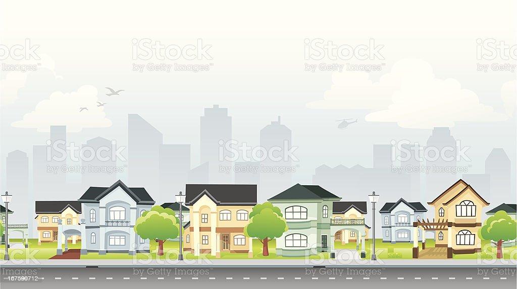 Residential Community vector art illustration
