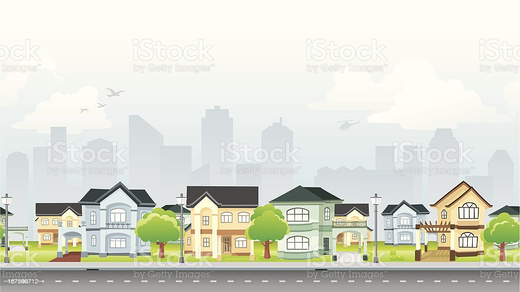 Residential Community vector art illustration