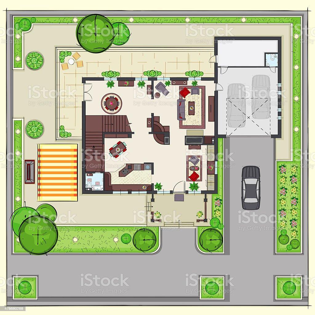 Plan de maison avec un mobilier résidentiel haut de gamme avec vue stock vecteur libres de