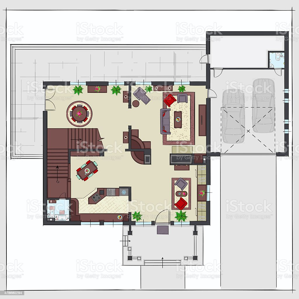 Residential house plan with furnishing Top view vector art illustration