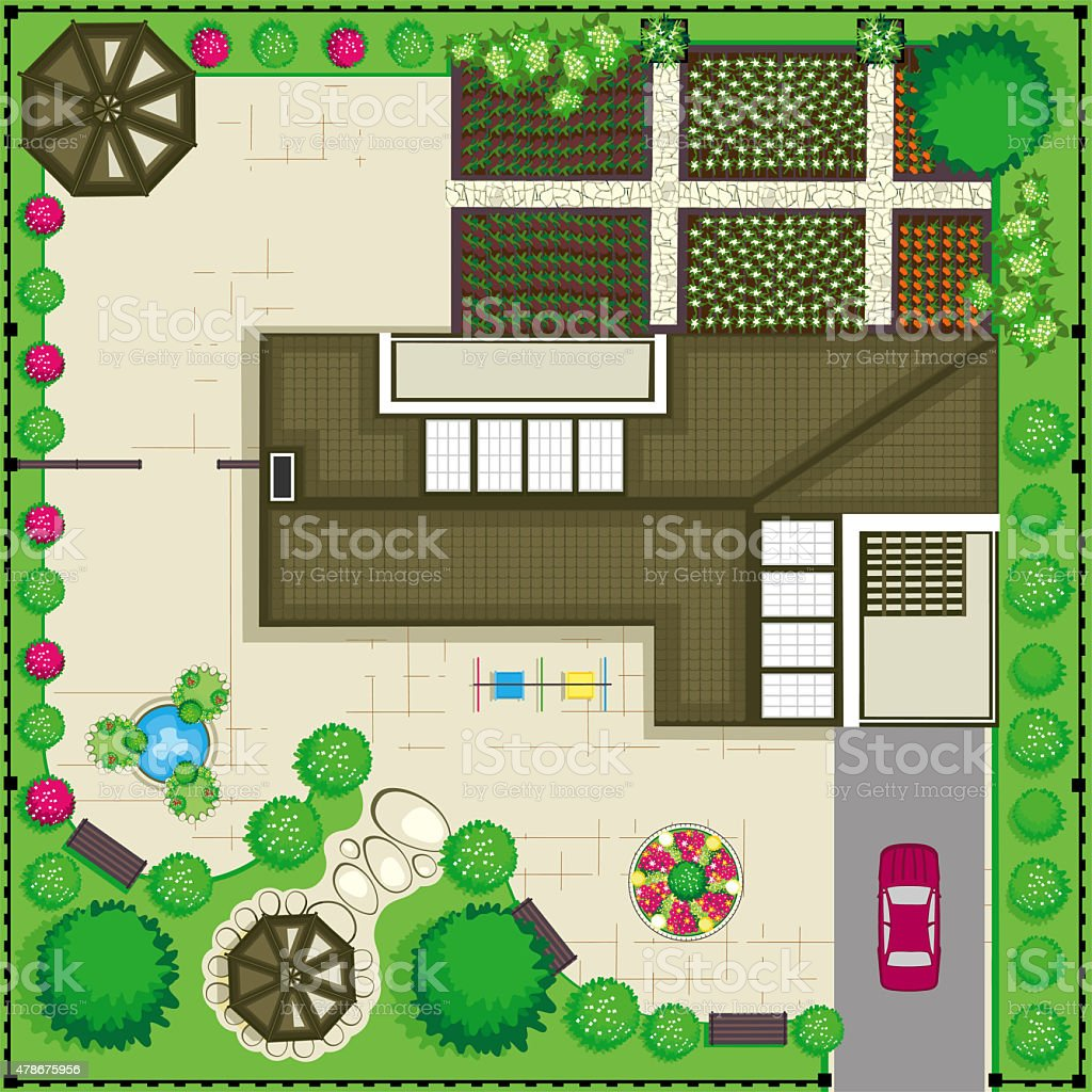 Residential house with a beautiful garden and large for Application plan jardin