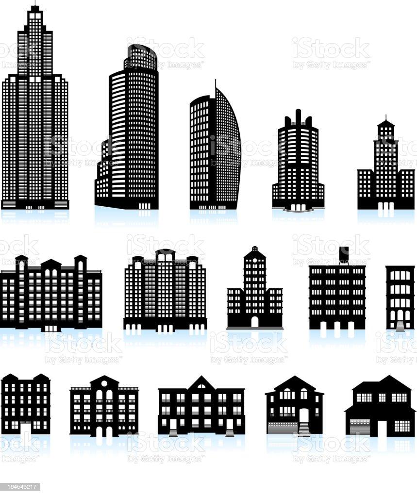 Residential real estate buildings black & white vector icon set vector art illustration