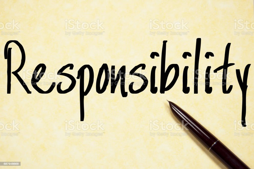 responsibility word write on paper stock photo