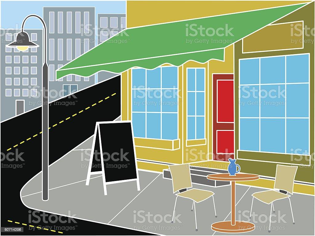 Restaurant entrance on street corner vector art illustration