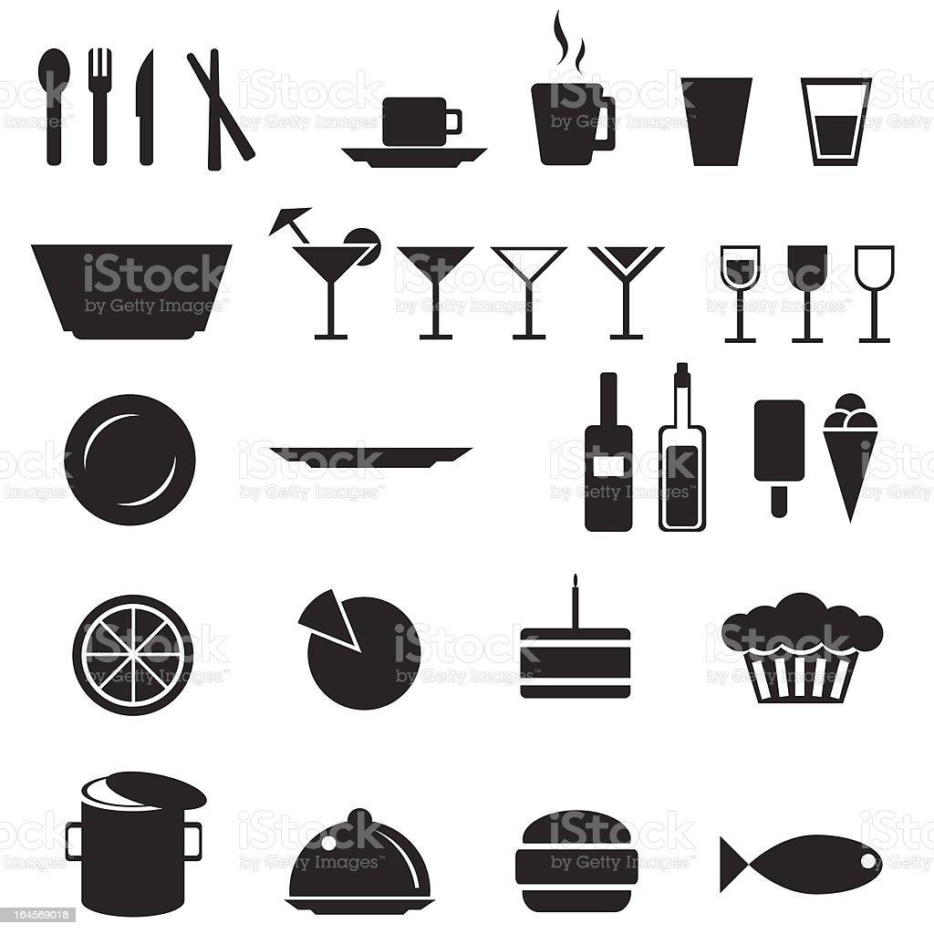 Restaurant food and drink menu icons vector art illustration