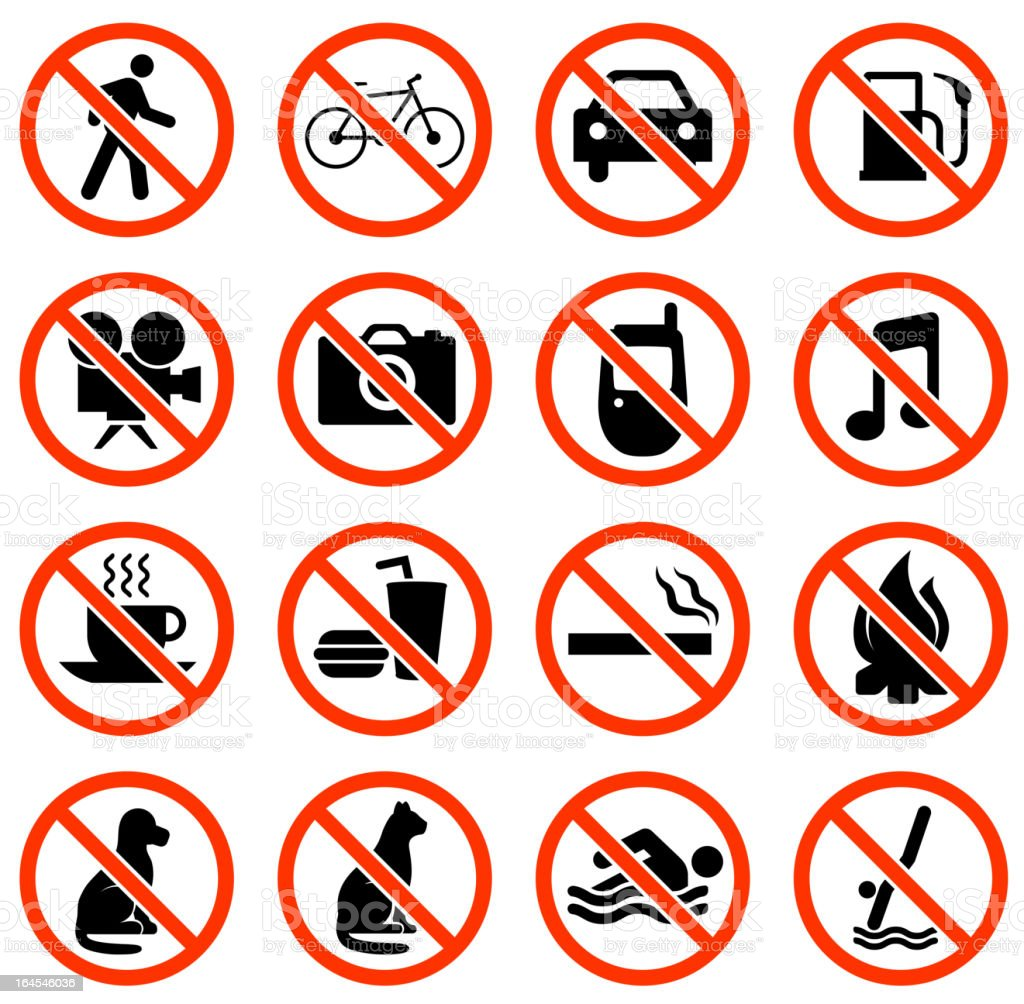 restrictions public signs black and white vector icon set royalty-free stock vector art