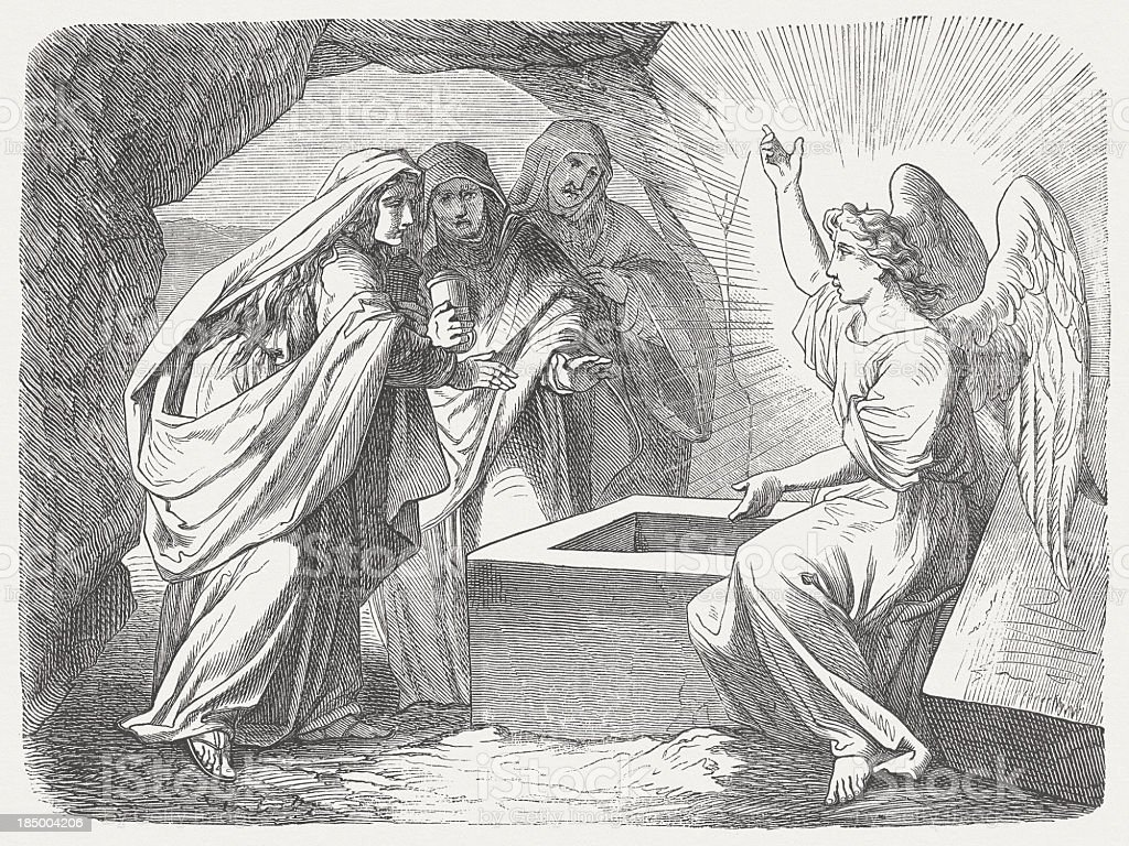 Resurrection message (Matthew 28, 5-7), wood engraving, published in 1877 royalty-free stock vector art