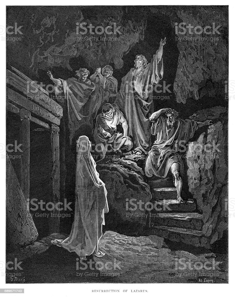 Resurrection of Lazarus engraving 1870 vector art illustration