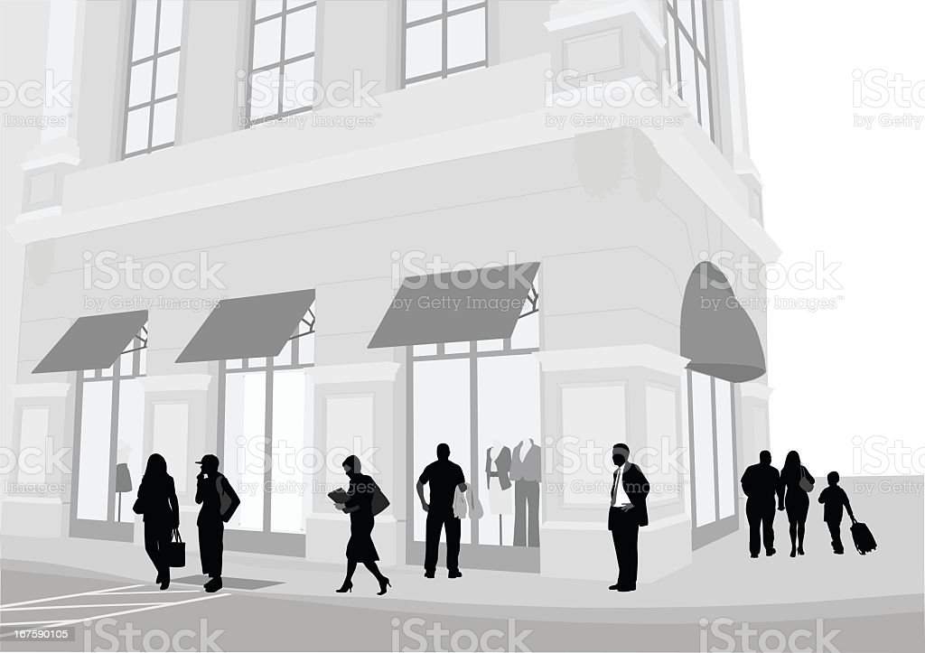 Retail Center Vector Silhouette royalty-free stock vector art