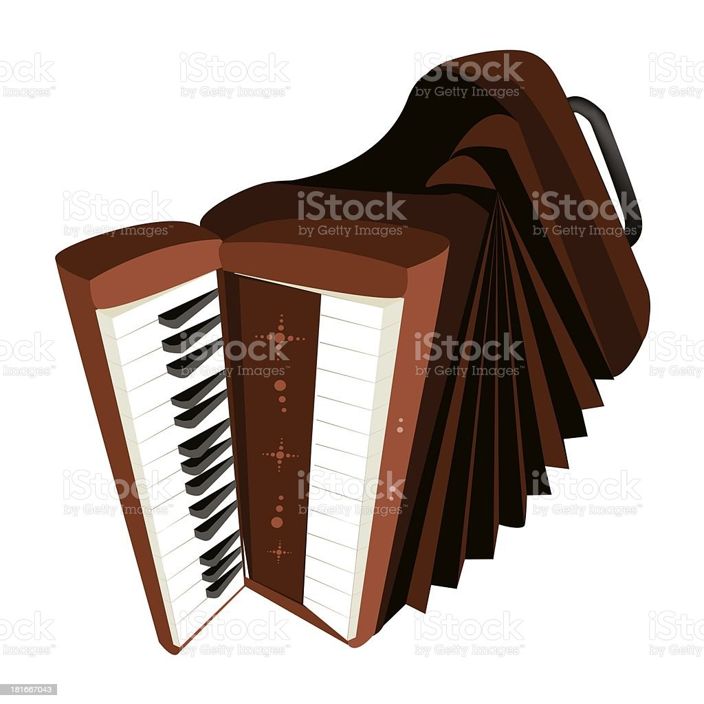 Retro Accordion Isolated on White Background royalty-free stock vector art