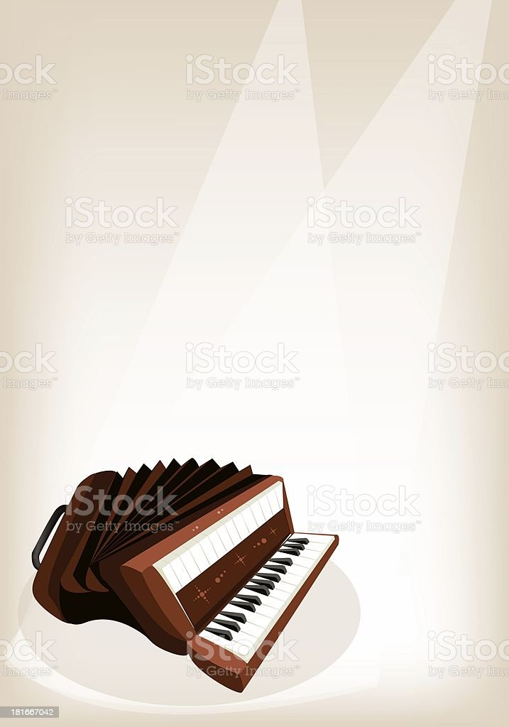 Retro Accordion on Brown Stage Background royalty-free stock vector art