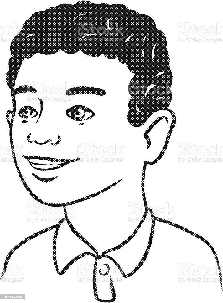 Retro African American kid vector art illustration