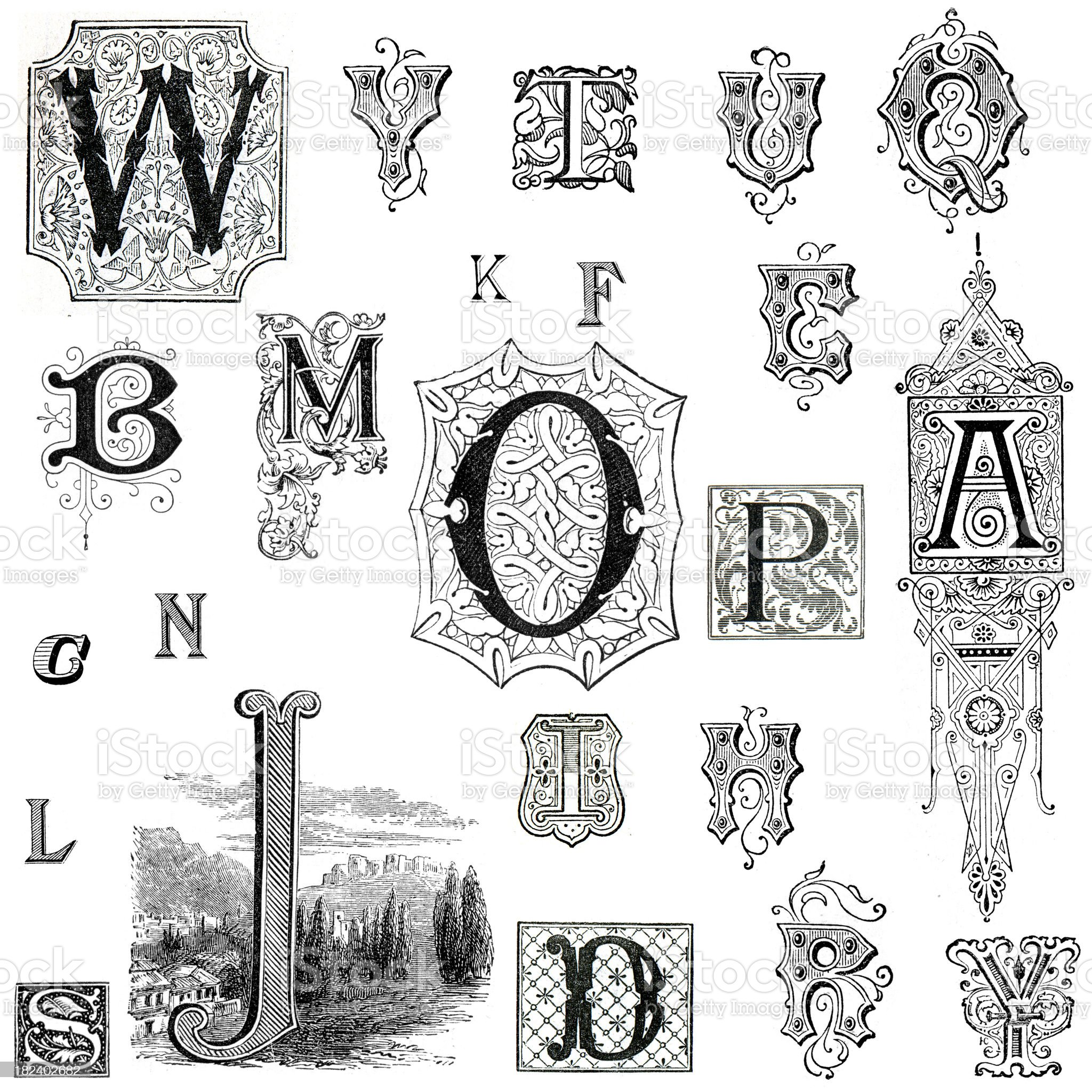 Retro Alphabet Letters royalty-free stock vector art