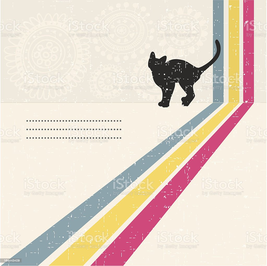 Retro background with silhouette of the cat. vector art illustration