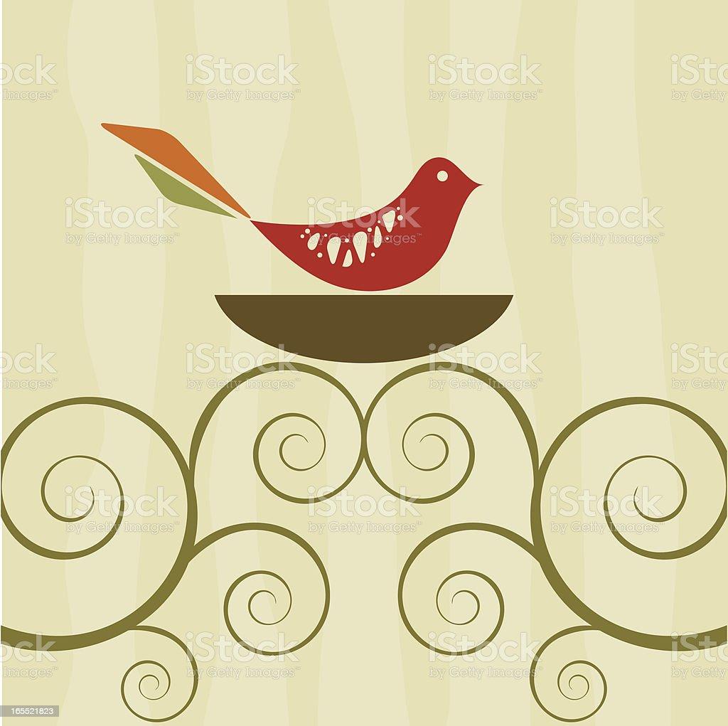 Retro bird on swirly tree nest vector art illustration