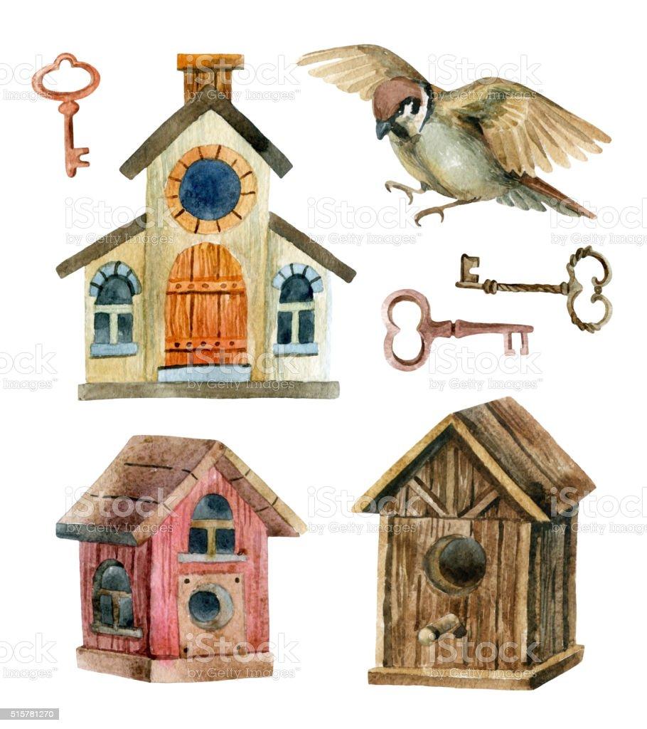 Retro birdhouses and keys. Three cute rustic birdhouses vector art illustration