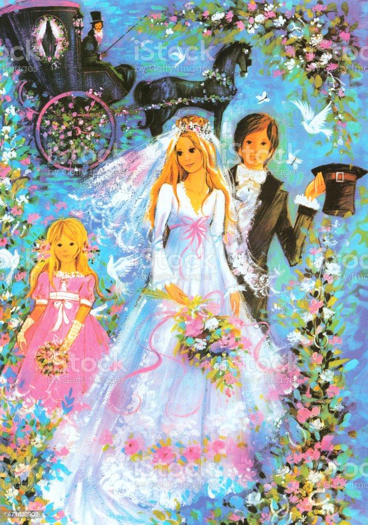 Retro Bride and Groom vector art illustration