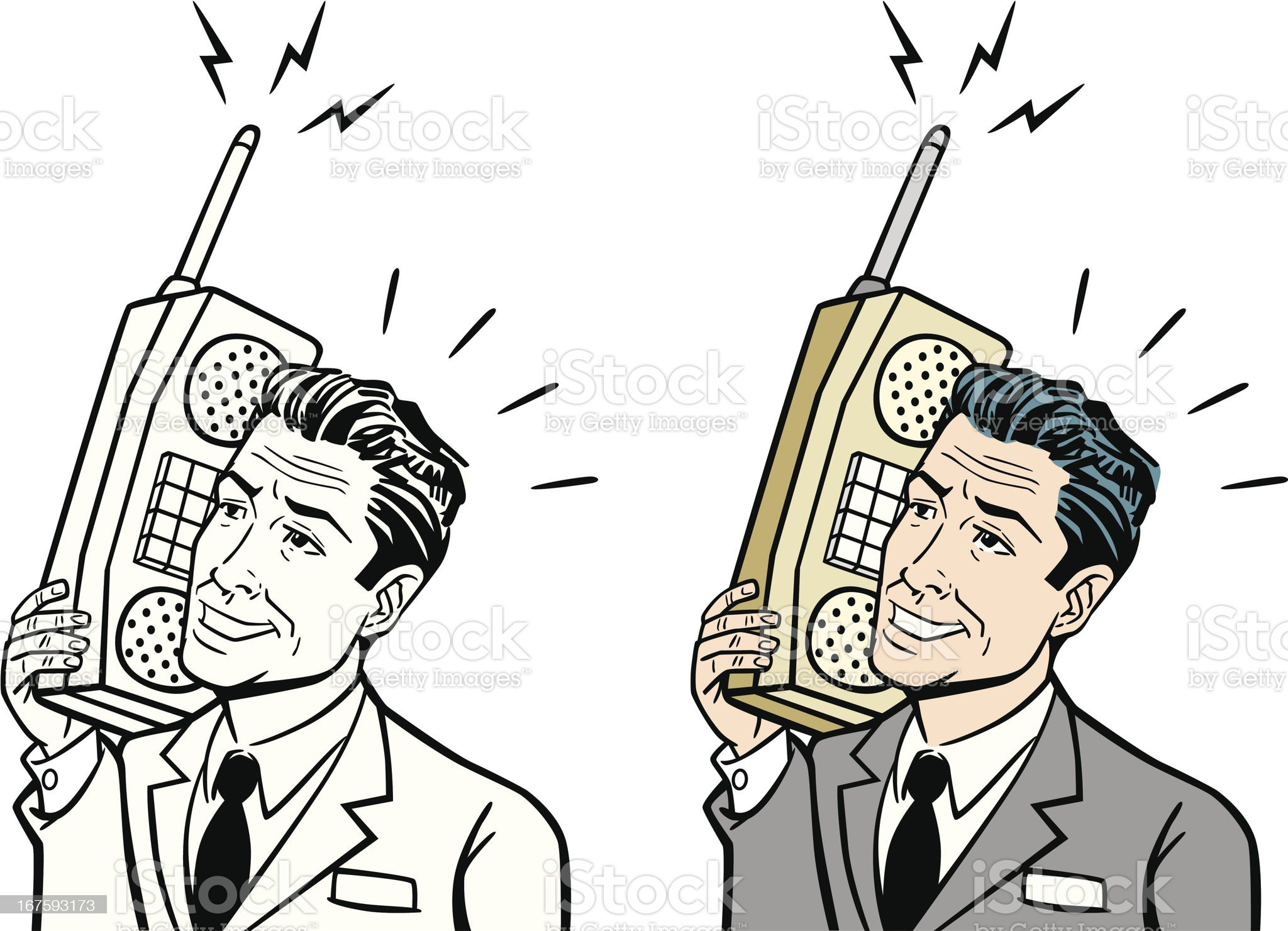 Retro Business Man With Early Cell Phone royalty-free stock vector art