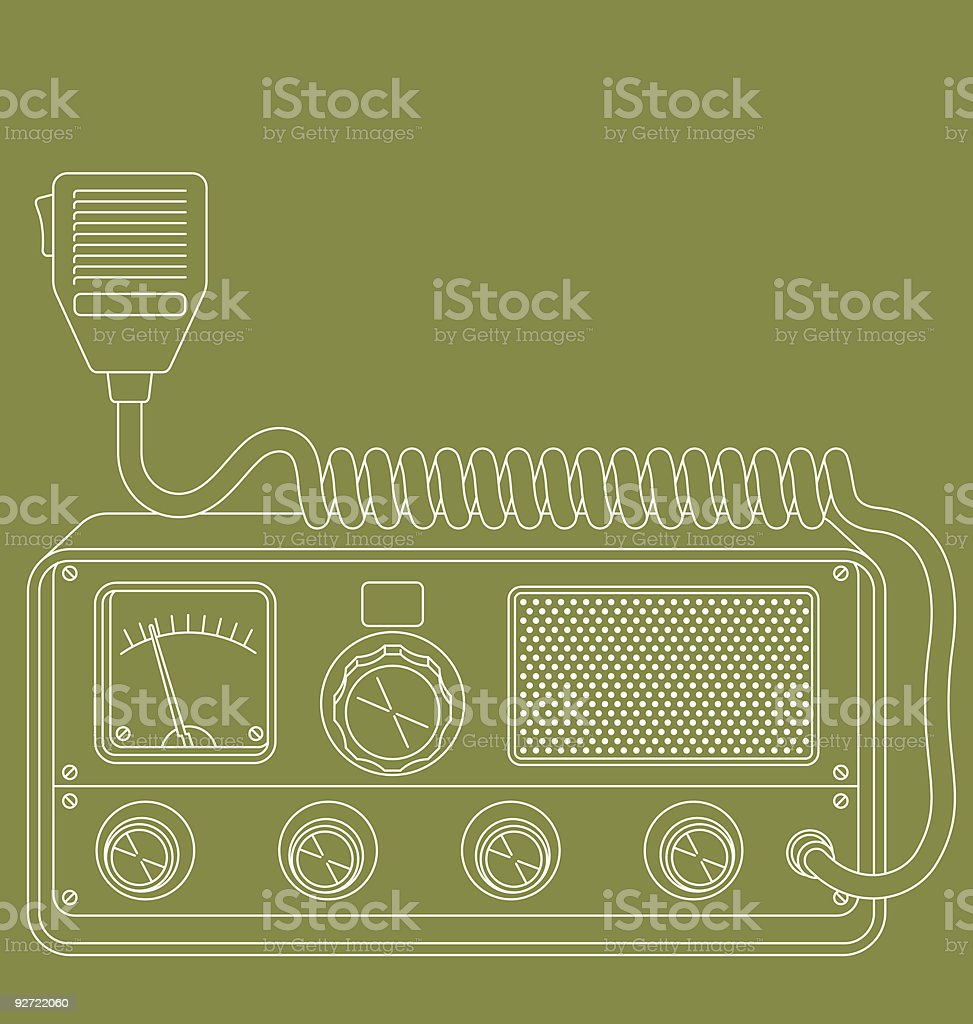 Retro CB radio vector art illustration