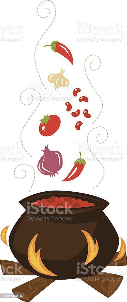 retro chili pot vector art illustration